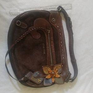 Miu miu by prada brown suede leather flower bag